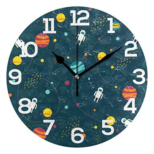 Bonipe Wanduhr, Weltraum, Planeten, Alien, geräuschlos, nicht tickend, Acryl, 25,4 cm