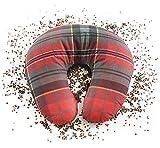 NATURECA - Cuscino da viaggio in grano saraceno biologico, rivestimento in cotone, cuscino cervicale, cuscino aggiuntivo, cuscino per dormire, aereo, gadget da viaggio, 35 x 33 cm