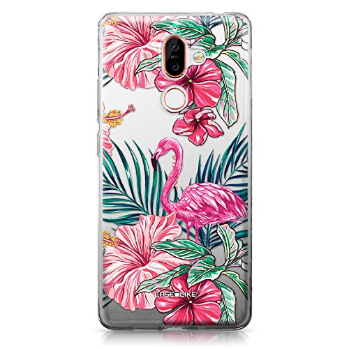 CASEiLIKE Nokia 7 Plus Hülle, Nokia 7 Plus TPU Schutzhülle Tasche Hülle Cover, Tropischer Flamingo 2239, Kratzfest Weich Flexibel Silikon für Nokia 7 Plus