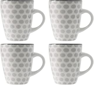 ProCook Salcombe - Vaisselle de Table en Grès - 14cm - Grande Tasse/Mug - 4 Pièces - Motif à Pois - Blanc Crème & Bleu