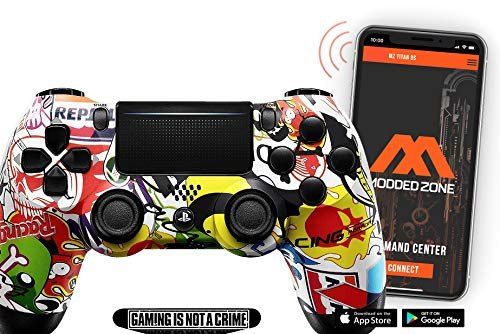 Smart Soft Touch Sticker Bomb PS4 PRO Modded Controller for Rapid Fire FPS MOD Pack Custom Modded Controller for All Major Shooter Games Warzone & More (CUH-ZCT2U)