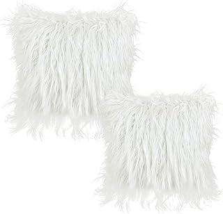 YOTINO 2 pcs Funda Blanca para Almohadas de Sofa de Cama 45 X 45cm Fundas de Sintética de Lana para Decoración Cojín Cubierta para Cama para Sofa Funda Almohada de Suave Piel Sintética de Lana