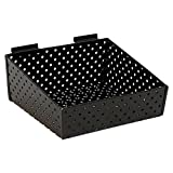 KC Store Fixtures A02026 Slatwall Basket, 12' W x 10' D x 3' H to 5' H Back Perforated Metal, Black (Pack of...