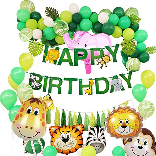 Puselo Jungle Birthday Decorations Happy Birthday Garland Funny Animal Foil Balloons Latex Balloons Palm Leaves for Children's Birthday Party Decoration