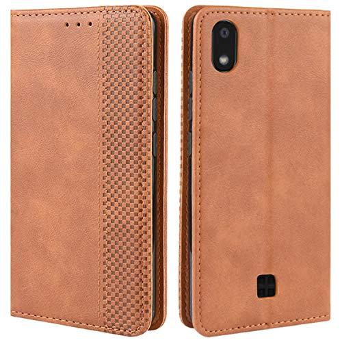 HualuBro Handyhülle für LG K20 2019 Hülle, Retro Leder Brieftasche Tasche Schutzhülle Handytasche LederHülle Flip Hülle Cover für LG K20 2019 - Braun