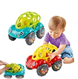 Aisnluk 2pcs Toy Cars for Toddlers,Soft Rubber Rattle car Toys ,Baby Toys 6-18 Months Baby Gifts for 3-12 Months Toy Car for Girls or Boys 1-5 Years Old