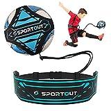 Sportout Entrenador de fútbol para Kick Trainer, manos libres, ayuda para entrenamiento de fútbol, con protección lateral ampliada, adecuado para niños y adultos (azul)