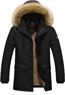 GUOCU Mens Winter Jacket Solid Color Thicken Long Sleeve Plush Warm Fur Windproof Plus Size Hooded Jacket Coat