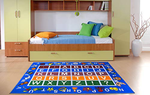 Ottomanson jenny collection educational rug, JNA370036-8 x 10, Blue