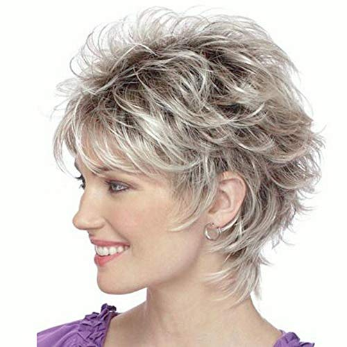 Menoqi Short Blonde Brown Wigs for White Women, Cute Wavy Full Hair Wigs for Women, Natural Synthetic Wigs for Daily Party with A Wig Net WIG277