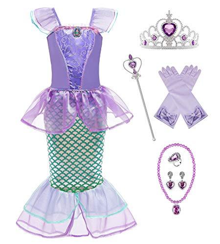New front Carnevale Principessa Ariel Festival Viola Rosa Costume Abito da principessa sirena Gioielli Bambina Cosplay Abiti Gonna Corona Bacchetta magica Orecchino Collana Guanti Squillare