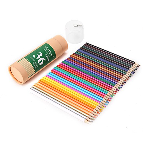 iArtker Adults and Kids Art Supplies Trilateral Long Colored Pencils with Sharpener (set of 36)
