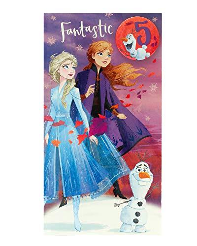 Geburtstagskarte für Mädchen – Frozen Geburtstagskarte – 5. Geburtstag Karte – Prinzessin Elsa und Prinzessin Anna – Anstecker enthalten