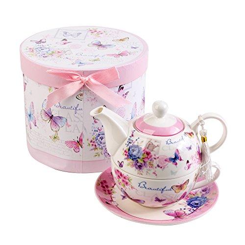 London Boutique Teekanne-, Tasse- und Untertasse-Set für eine Person im Vintage-Stil, mit Rosen- und Lavendel-Muster, Porzellan, in Geschenkbox 15x15cm Butterfly Rose