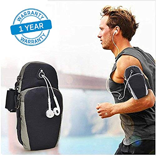 Azacus Mobile Arm Band Pouch,Universal Gym Running Hiking Phone Bag Case Arm Band Cover (Black)