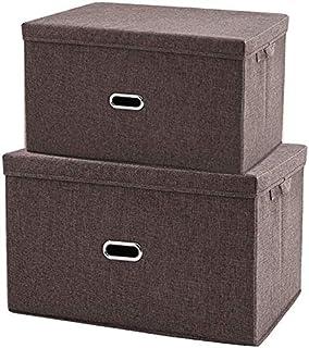 MU Grande boîte de rangement pliante, boîte de rangement avec couvercle, boîte de rangement pour vêtements, combinaison de...