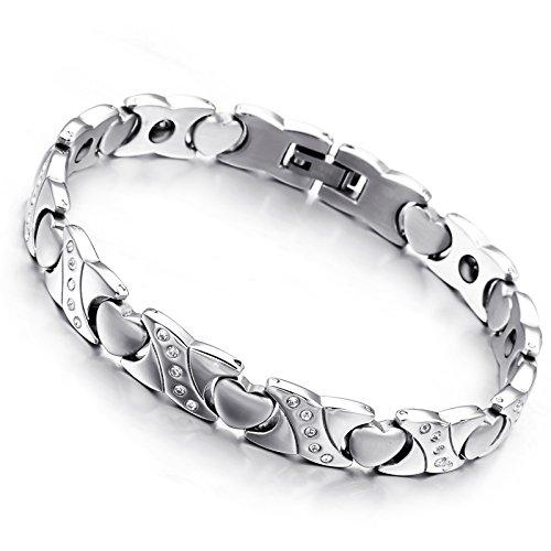 Cupimatch Herren Damen Magnetarmband, elegant Herz Lieben Magnet Therapie Edelstahl Armband Armreif Gesundheitsarmband, Silber Gold (Typ5)
