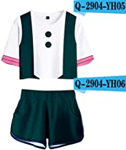 LUCKY ZERO 2025 T-Shirt and Shorts Set 3D Printed, Japanese Anime Hero Deku Cosplay,Short Sleeve Multi Versions for Women Sexy Tights