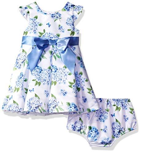 Little Me Baby and Toddler Girls Special Occasion Dress & Panty Set, Blue Polka Dot, 2T