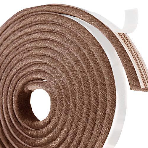Leobro 隙間テープ すきまモヘアテープ 網戸用 10m×9mm×9mm ブラウン モヘア すき間シール 虫よけすき間テープ 玄関ドア 戸当たり 窓 サッシ用 隙間対策
