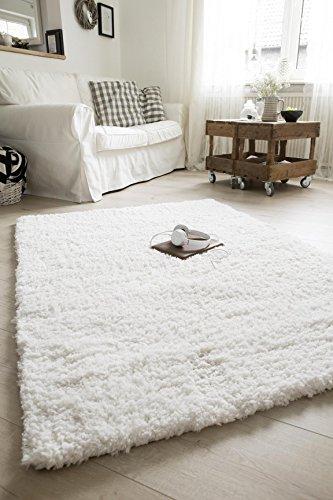 Luxor Living Shaggy Teppich Crema für Wohnzimmer, Schlafzimmer | Hochflor Langflor in Weiß oder Taupe, auch in rund, Farbe:Weiß, Größe:65 x 130 cm