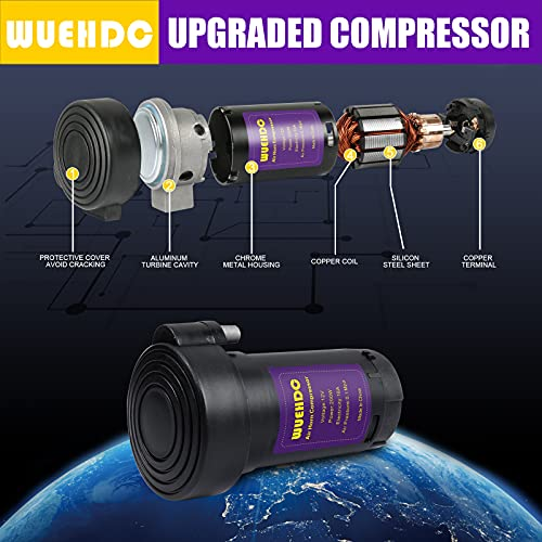 WUEHDC 12V 150db Zinc Alloy Air Horn Kit Oversized Chrome Zinc Double Horn Truck Air Horns with Compressor And Line Speed Easy To Install Suitable for Any Car Truck Boat Train Pickup (12V Black)