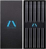SightNow 5-Pairs Reusable Fiberglass Chopsticks - Dishwasher Safe - Non-Slip and Durable - 24cm