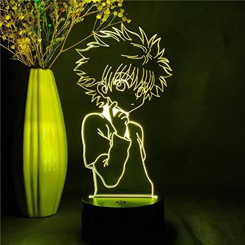 Lámpara de escritorio de mesa de ilusión óptica 3D Hunter X Hunter AnimeUSB lámpara de mesa multicolor para dormir regalo innovador decoración del hogar-16 color remote control