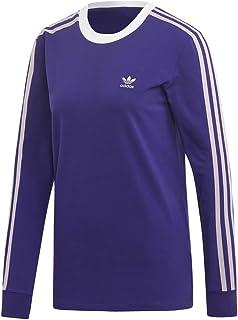 adidas Originals Women's 3-Stripes Long-Sleeve Tee, Collegiate Purple, Small