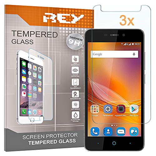 REY Pack 3X Panzerglas Schutzfolie für ZTE Blade A452, Bildschirmschutzfolie 9H+ Festigkeit, Anti-Kratzen, Anti-Öl, Anti-Bläschen