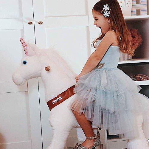 PonyCycle Official Klassisch U Series Reiten auf Einhorn Spielzeug Plüsch Lauftier Weiß Einhorn für Alter 4-9 Mittlere Größe U404