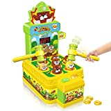 VATOS Whac-A-Mole Game,Mini Electronic Arcade Game Toy,Pounding Bench Coin game with 2 Hammers Toy,Interactive...
