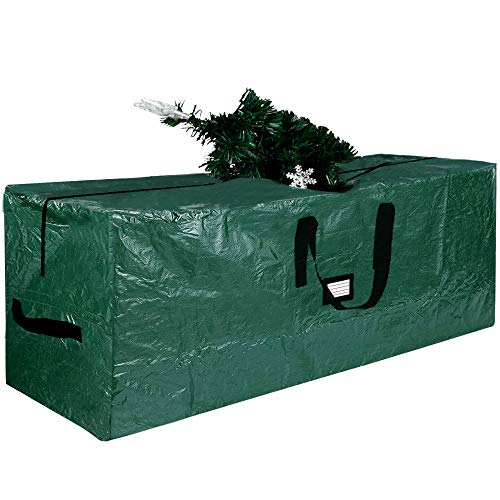 Lulu Home Christmas Tree Storage Bag, Polyester Artificial Tree Storage Bag with Dual Zippers and Sturdy Handles, Portable Waterproof for Easy Xmas Tree Storage (Green, XL: 65x30x15 inch)