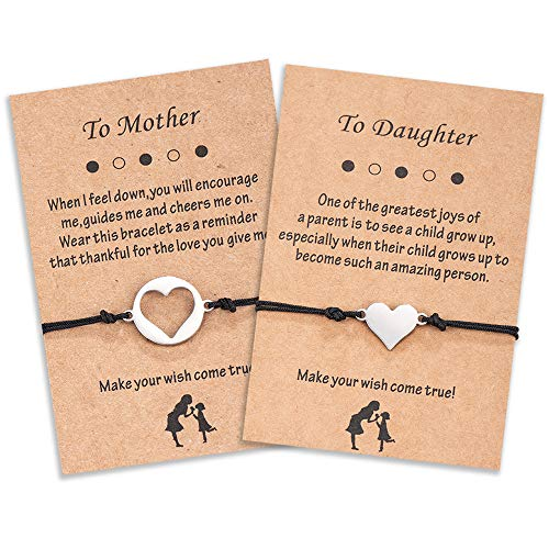 Cheerslife Mutter Tochter Herz Cut Out Armband Set für Zwei passende Ausgeschnittene Herz Wunsch Armbänder Mum and Me Schmuck, Geschenk für Mama Tochter
