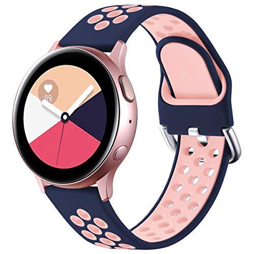 Vobafe Correa Compatible con Samsung Galaxy Watch Active/Active2 Correa 40mm/44mm, Correa Deportiva Reemplazo de Silicona Suave para Galaxy Watch 3 41mm/Gear S2 Classic/Sport, S Azul Oscuro/Rosa