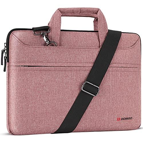 """DOMISO 17 Zoll Laptop Tasche Hülle Notebooktasche Wasserdicht Aktentasche Tragetasche Schultertasche für 17.3"""" Dell Inspiron/MSI GS73VR Stealth Pro/Lenovo IdeaPad/HP Envy/LG Gram/ASUS ROG,Rosa"""