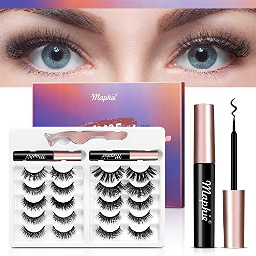 10 Pairs Magnetic Eyelashes with Eyeliner, No Glue Reusable 5D Magnetic Lashes and Eyeliner Kit, With Double Waterproof Liquid Magnetic Eyeliner Kit