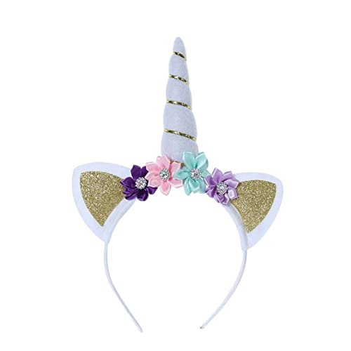 ed67bd76a2b Scrox Lovely Girls Golden Unicorn Horn Ears Flower Headbands Colorful Hair  Band Princess Girl Party Headwear