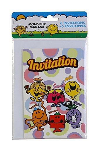 6 cartes d'invitation avec enveloppes Monsieur Madame - taille - Taille Unique - 211668