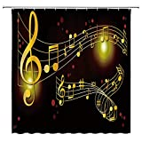 WZFashion Creative Music Shower Curtain Golden Musical Notes Staff Personality Red Polka Dot Abstract Geometric Cool Black Background Bathroom Decor Curtain 70x70 Inches with Hooks 70' WX70 H
