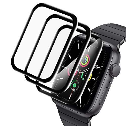 A-VIDET 3 Stück Schutzfolie kompatibel mit Apple Watch Series 6/SE/Series 5/Series 4 44mm Folie, Wasserfreie Adsorption Flexible Folie Soft HD TPU Clear Anti-Scratch Volle Abdeckung Displayschutzfolie