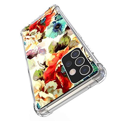 UZEUZA Funda compatible con Samsung Galaxy A72 suave patrón floral transparente para niñas y mujeres