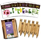 Herb Garden Seeds for Planting - 10 Medicinal Herbs Seed Packets USDA Organic Non GMO, Wood Gift Box, Plant Markers - Herbal Tea Gifts for Tea Lovers, Herb Growing Kit Indoor Garden Starter Kit