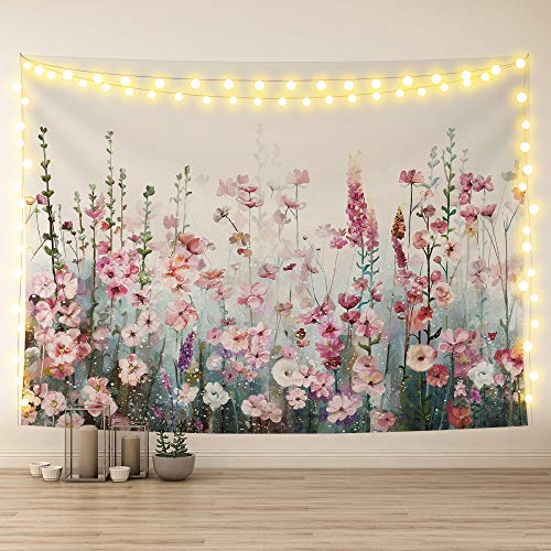 SUMGAR Tapices de flores para colgar en la pared, diseño de flores silvestres, color rosa, romántico, para decoración de salón, dormitorio, 150 x 200 cm
