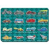 Antideslizante Alfombra De Baño,Lindos Tipos de vehículos en Estilo Adhesivo en gráfico Cuadrado,Alfombra de Cocina Alfombra Mascota,Alfombras de Ducha 80x60cm