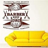 Calcomanías de pared de vinilo para hombre, peluquería, peluquería, decoración, calcomanías de pared, decoración artística extraíble, pegatina de pared 58X61Cm