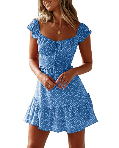 Valphsio Womens Smocked Dress Ruffle Floral Tie Front Boho Short Dresses