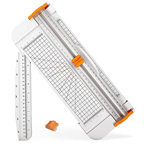 FaceColor ペーパーカッター ペーパートリマー 軽量ミニ裁断機 替刃付き 安全仕様 軽量タイプ コンパクト スライドカッター A4 対応 ペーパー 写真 クーポン ラベル カード裁断 定規をつける (ホワイト)