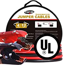 TOPDC 100% Copper Jumper Cables 4 Gauge 12 Feet Heavy Duty Booster Cables with Carry Bag and Safety Gloves (4AWG x 12Ft) UL Listed