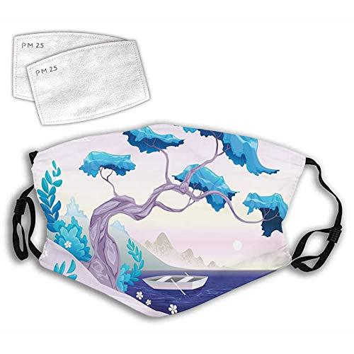 Fillter Cloth Face Mask Bandana With 2pcs Filters,Fantastic Landscape Bonsai Tree Sea Water Lilies Daisies and Boat Marine Balaclava Adjustable Earloop Washable Reusable